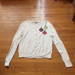 Merona White Christmas Ornament Sweater Size XL